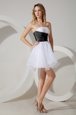 Strapless Sleeveless Zipper Bridesmaid Gown White and Black and White And Black Organza