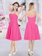 Designer Hot Pink Chiffon Zipper Dama Dress for Quinceanera Sleeveless Knee Length Ruching