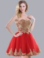 Appliques Wedding Guest Dresses Red Lace Up Sleeveless Mini Length
