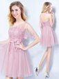 Pink One Shoulder Lace Up Appliques and Belt Dama Dress for Quinceanera Sleeveless