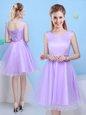 Popular Lavender A-line Scoop Sleeveless Tulle Knee Length Lace Up Bowknot Vestidos de Damas