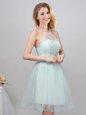 Custom Designed Halter Top Sleeveless Lace Up Mini Length Lace and Appliques and Belt Vestidos de Damas