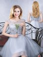 Customized Scoop Grey Lace Up Quinceanera Court Dresses Lace and Appliques and Belt Cap Sleeves Knee Length
