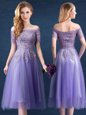 Off the Shoulder Short Sleeves Tulle Tea Length Zipper Wedding Guest Dresses in Lavender for with Beading and Lace