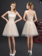 Stylish Champagne Lace Up Scoop Lace and Appliques and Belt Bridesmaid Gown Tulle Sleeveless
