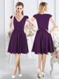 Cap Sleeves Knee Length Zipper Bridesmaid Gown Purple and In for Prom and Party with Ruching