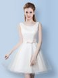 Best Selling Scoop Knee Length A-line Sleeveless White Bridesmaids Dress Lace Up