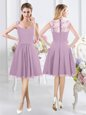 Perfect Lavender Chiffon Zipper Straps Cap Sleeves Knee Length Bridesmaids Dress Lace