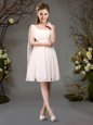 Fine Chiffon One Shoulder Sleeveless Zipper Beading and Ruching Court Dresses for Sweet 16 in Champagne