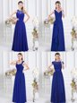 Royal Blue Chiffon Zipper Dama Dress Sleeveless Floor Length Lace and Ruffles and Ruching