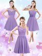 Comfortable Scoop Lavender Sleeveless Chiffon Zipper Damas Dress for Prom and Party and Wedding Party