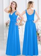Smart Baby Blue Chiffon Zipper V-neck Sleeveless Floor Length Bridesmaid Gown Ruching