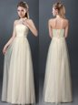 Halter Top Champagne Empire Lace and Appliques Quinceanera Dama Dress Lace Up Tulle Sleeveless Floor Length