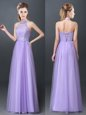 Halter Top Sleeveless Floor Length Lace and Appliques Lace Up Wedding Guest Dresses with Lavender