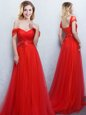 Red Empire Off The Shoulder Sleeveless Tulle With Brush Train Lace Up Appliques and Ruching Dama Dress for Quinceanera