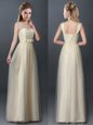 Pretty Champagne Empire Scoop Sleeveless Tulle Floor Length Lace Up Lace and Hand Made Flower Dama Dress