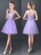 Lavender Lace Up Scoop Lace Damas Dress Tulle Sleeveless