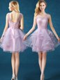 Discount Lavender Lace Up Scoop Lace Bridesmaid Dresses Organza and Tulle Sleeveless