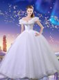 Elegant Cinderella Off the Shoulder Sleeveless Beading and Bowknot Lace Up Sweet 16 Dress