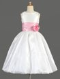 White Flower Girl Dresses for Less Party and Wedding Party and For with Bowknot and Hand Made Flower Scoop Sleeveless Zipper