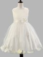 Scoop White Sleeveless Appliques and Bowknot and Hand Made Flower Floor Length Flower Girl Dress