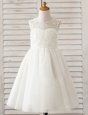 White Scoop Clasp Handle Lace Toddler Flower Girl Dress Sleeveless
