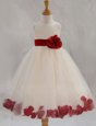Custom Design White Scoop Zipper Appliques and Bowknot and Hand Made Flower Flower Girl Dresses for Less Sleeveless