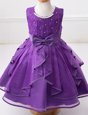 Trendy Scoop Eggplant Purple Sleeveless Floor Length Beading and Ruffles and Bowknot Zipper Toddler Flower Girl Dress