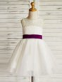 White A-line Scoop Sleeveless Tulle Mini Length Zipper Lace and Bowknot Flower Girl Dresses