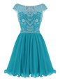 Flare Teal Scoop Zipper Beading Evening Dress Cap Sleeves