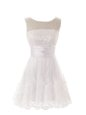 Clearance White Lace Zipper Scoop Sleeveless Mini Length Club Wear Beading and Lace