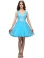 Flirting Appliques Dress for Prom Aqua Blue Backless Sleeveless Mini Length