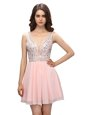 Enchanting Baby Pink V-neck Zipper Beading Prom Evening Gown Sleeveless