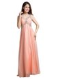 Peach Organza Backless V-neck Sleeveless Floor Length Dress for Prom Beading