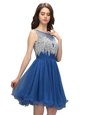 Admirable Sleeveless Organza Knee Length Zipper Prom Dresses in Blue for with Beading