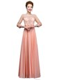 Delicate Scoop Peach Zipper Mother Of The Bride Dress Beading 3|4 Length Sleeve Floor Length