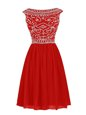 Fantastic Red Zipper Homecoming Dress Beading Cap Sleeves Knee Length