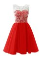 Scoop Mini Length Clasp Handle Prom Gown Red and In for Prom and Party with Lace