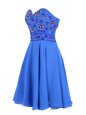 Blue Sleeveless Mini Length Beading Zipper Prom Dress