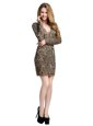 Brown Organza Backless Mother Of The Bride Dress Long Sleeves Mini Length Beading