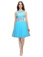 Flare Baby Blue Backless Scoop Appliques Prom Dress Tulle Sleeveless