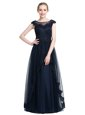 Floor Length Zipper Prom Gown Black and In for Prom and Party with Beading