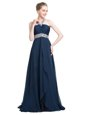 Flare Blue Sleeveless Chiffon Backless Prom Dresses for Prom and Party