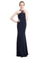 Chiffon High-neck Sleeveless Zipper Beading Evening Dress in Black