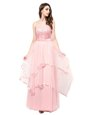 Sleeveless Floor Length Lace Zipper Prom Party Dress with Baby Pink