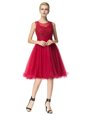 Spectacular Scoop Red A-line Lace Dress for Prom Zipper Organza Sleeveless Knee Length