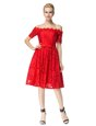 Sweet Off the Shoulder Red Sleeveless Lace Zipper Dress for Prom for Prom and Party
