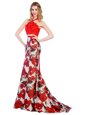 Fantastic Halter Top Multi-color Mermaid Lace and Pattern Prom Evening Gown Zipper Printed Sleeveless With Train