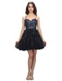 Mini Length Lace Up Prom Evening Gown Black and In for Prom and Party with Sequins