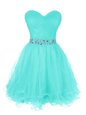 Ruffled Mini Length Turquoise Sweetheart Sleeveless Zipper